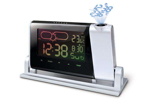 Projection Clock With Dual Time And Weather At Sharper Image