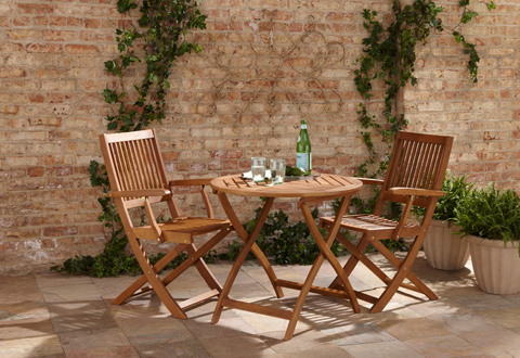 Eucalyptus Folding 30 inch Table and Two Chairs Set @ Sharper Image