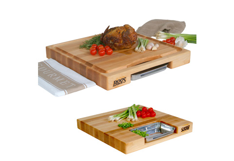 Cutting Board With Prep Tray Sharper Image - Restaurant prep table cutting boards