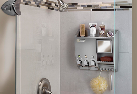 Shower Caddy With Fog-Free Mirror @ Sharper Image
