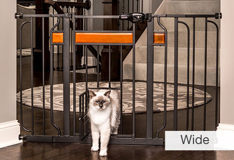 Walk Thru Pet Gate With Small Pet Door Sharper Image