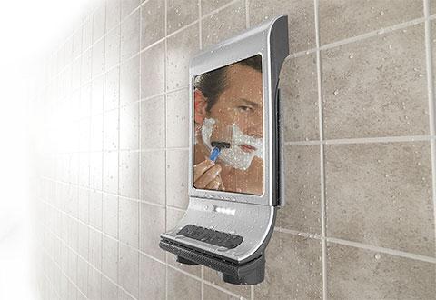 Fog Free Shower Mirror And Bluetooth Speaker Sharper Image