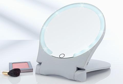 10x Lighted Folding Travel Mirror Sharper Image