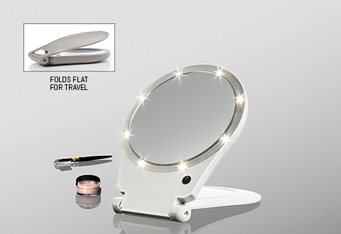 Sharper Image Makeup Mirror.10x Lighted Folding Travel Mirror Sharper Image